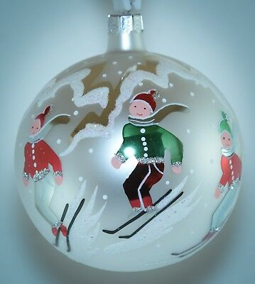 Christopher Radko Round Ball Christmas Ornament FANTASIA  ALPINE SKIERS Vintage