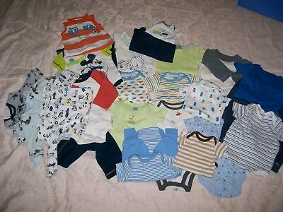 Mixed Lot Of 27 PC Baby Boy's Body Suits/Sleepers/Pants Set -NB - 0-3 Mths (#22)