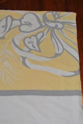 Vintage Gray And Yellow Lotus Floral Large Bows Cotton Tablecloth 53 x 66