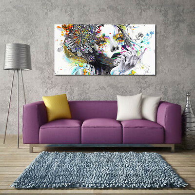 1pc Huge Modern abstract wall art girl with flowers oil painting Print on canvas