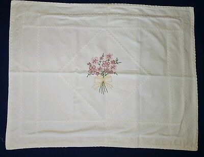 Vintage Pair (2) of Hand Embroidered Floral Pattern White Cotton Pillow Shams