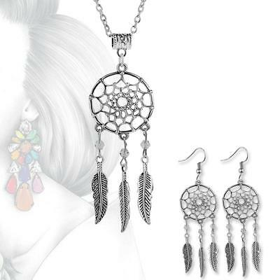 Vintage Jewelry Dangling Feather Dream Catcher Pendant Necklace / Earrings FZ