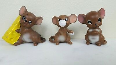 🧀 Josef Originals Lot of 3 Brown Mice Cheese Bubble Gum Made in Japan 🐀