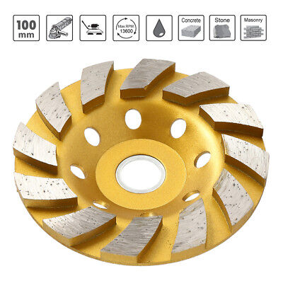 "100mm 4"" Diamond Segment Grinding Wheel Disc Grinder Cup Concrete Stone Cut NEW."