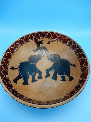 African Elephant Hand Carved Painted Round Wooden Bowl 10 3/4 Inch