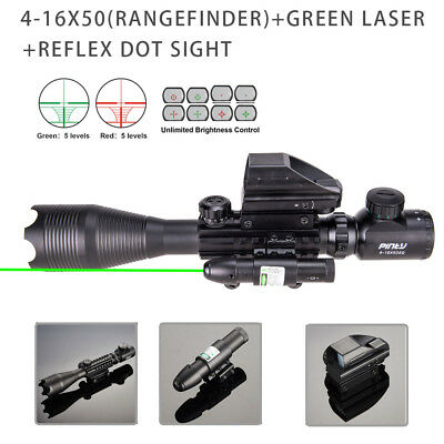 Rangefinder Rifle Scope Combo 4-16x50 Holographic Reflex Dot Sight Green Laser.