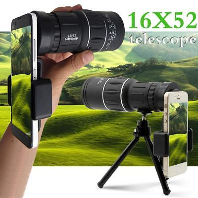 40X60 16X52 10X42 Zoom Optical Lens Monocular Telescope +Tripod For Apple iPhone