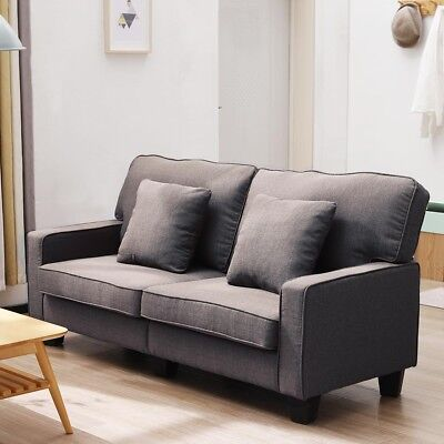 Long Lasting Use 2 Seater Modern Fabric Sofa Couch Settee Durable Wood Frame