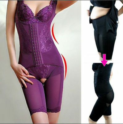 Women Full Body Shaper Thigh Slimming Underbust Waist Trainer Shapewear Bodysuit