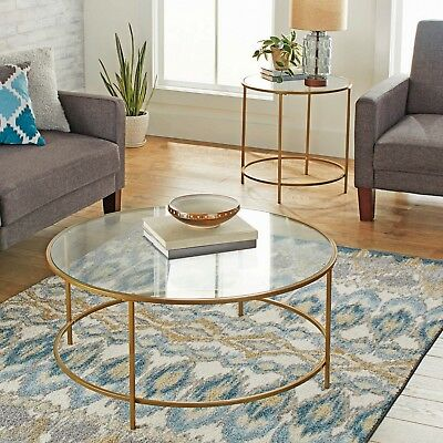 MODERN GLASS COFFEE Table Round Contemporary Living Room ...
