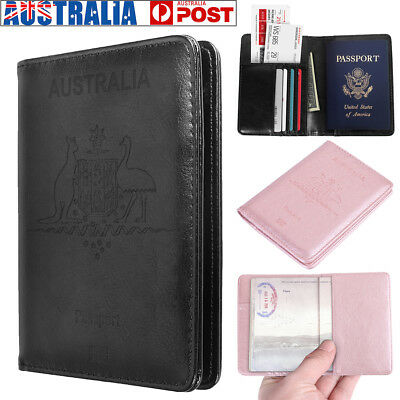 AU Flip Leather RFID Blocking Passport Travel Wallet Holder ID Cards Cover Case