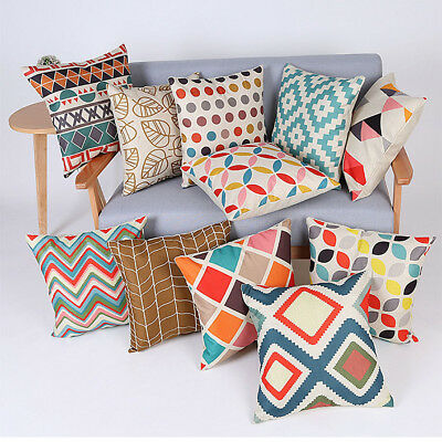 18'' Bohemian Geometric Cotton Linen Pillow Case Square Cushion Cover Home Decor