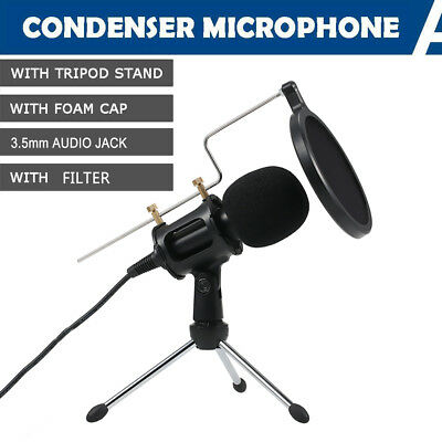 Condenser Microphone 3.5mm Plug and Play fr Home Studio Recording w/Filter Stand