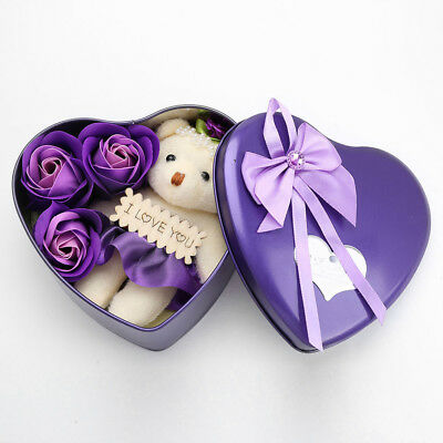 Valentines Gift for Her Wife 3PCS Soap Roses Flowers and 1PC Bear in a Iron Box