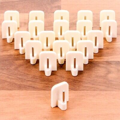 10x WHITE SELF ADHESIVE CURTAIN ROD ENDS Window Net Wire Hook Holder STICK ON