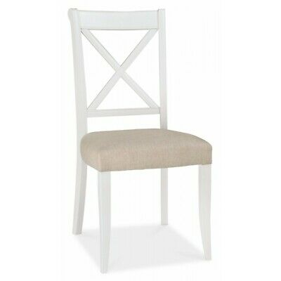 Georgian Painted White & Oak Furniture Wooden Sand Cross Back Dining Chair PAIR