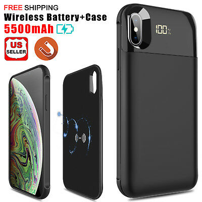 Qi Wireless Battery Charger Case Power Bank Slim Case Charging For iPhone XS Max