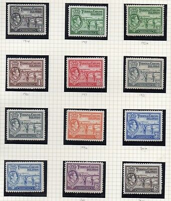 Turks & Caicos Islands 1938-45 King George V Sg 194 To Sg 210 Mounted Mint