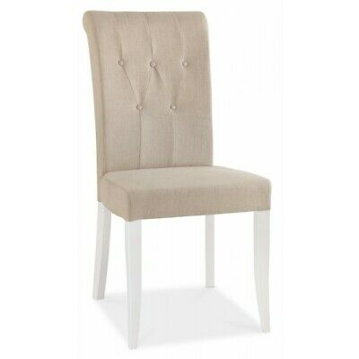 Georgian Painted White & Oak Furniture Cushioned Sand Fabric Dining Chair PAIR