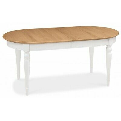 Georgian Painted White & Oak Furniture Round Oval Extending Dining Room Table