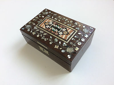 Antique Large Pietra Dura Stone Mosaic Mother Of Pearl Chest Box Karlsbad 1900