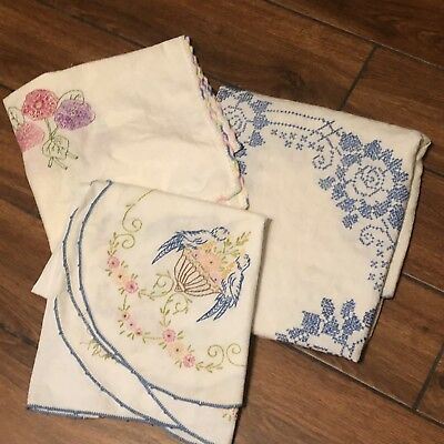 Lot Of 3 Vintage Embroidered Cross-stitch Table Linens-Floral Botanical