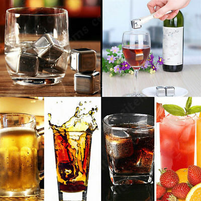 Reusable Stainless Metal Whiskey Stones Drinks Beverage  Ice Cube Chiller Cooler