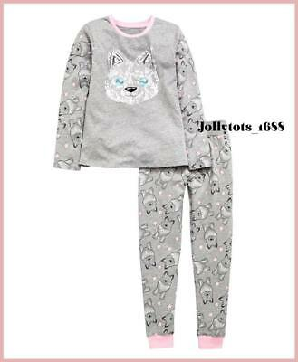 BNWT Girls Pyjamas Set V By Very 3 & 4 Years Grey Pink Wolf Long Sleeved P.J's