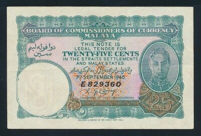 "Malaya: 1-9-1940 25 Cents ""WWII EMERGENCY PRINTING"". Pick 3 GVF - Cat VF $333+"
