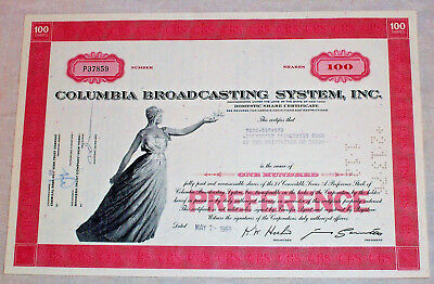 1969 Columbia Broadcasting System Inc. Preference Stock Certificate , CBS Texas
