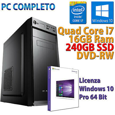 PC FISSO COMPUTER DESKTOP NUOVO ASSEMBLATO QUAD CORE i7 16GB SSD 240 WINDOWS 10