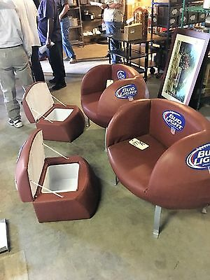 SET OF 2 BUD LIGHT NFL  FOOTBALL Chairs  W  BEER COOLERS  Man Cave
