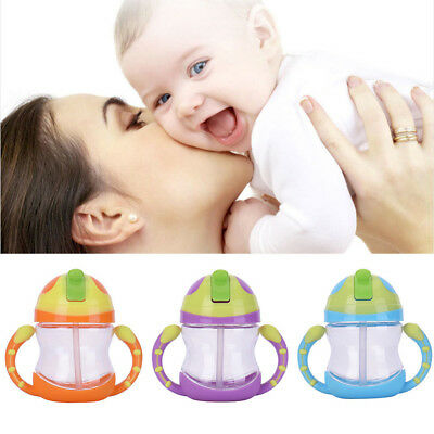 Newborn Kids Water Leakproof Baby Straw Cup Handle Drinking Tool Infant Bottle