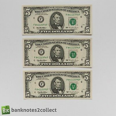 UNITED STATES: 3 x 5 US Dollar Banknotes with consecutive serial numbers. 1995.