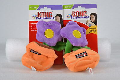 LOT OF 2 KONG Puzzlements Flower Pot Dog Toy for Small Dogs, Squeaks & Crinkles