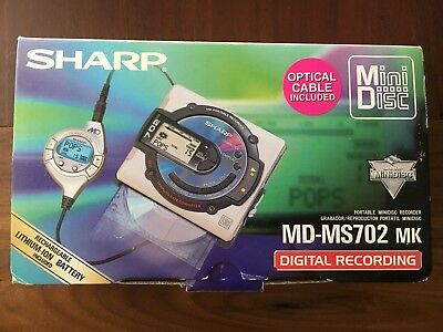 Sharp MD-MS702 MK Portable MiniDisc Recorder Player Music Rare With Original Box