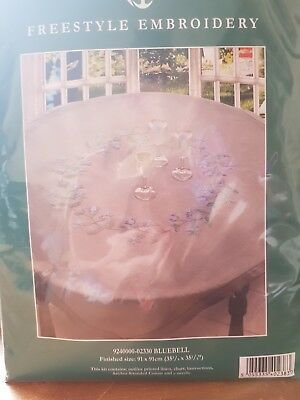 ANCHOR | Embroidery Kit: Bluebell - Large Linen Tablecloth 90cm sq | 92400002330