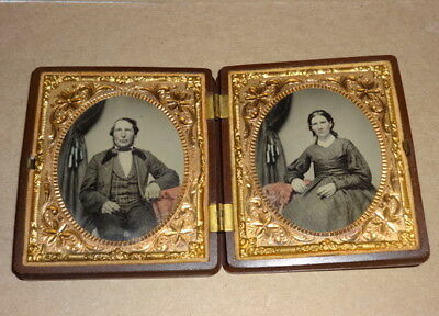 Civil War Era Ambrotypes Photos with Double Union Case Cross Cannons
