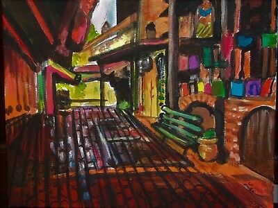 Streets of Los Angeles  Abstract 8 x 10 Original Acrylic Hardboard