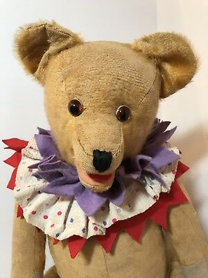 Ronald Ruffles -Unusual LARGE 1930/40's Yes/No Clown Type Teddy Bear Old Antique