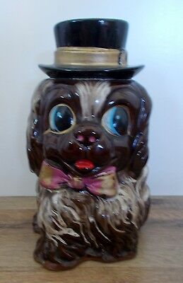 Vintage Big Eyes Brown Puppy Dog with Top Hat & Bow Coin Bank Made In Japan