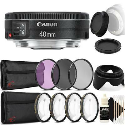 Canon EF 40mm f/2.8 STM Lens with Top Accessory Kit for Canon DSLR Cameras