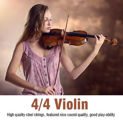 4/4Full Size Newest Acoustic Solid Wood Spruce Flame Maple Veneer Violin Fiddle