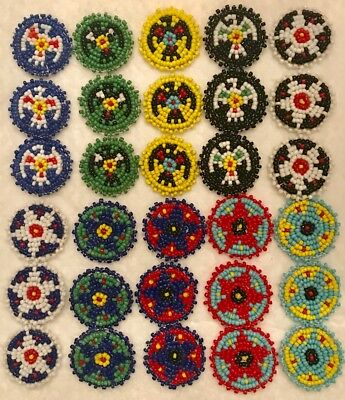 "Non Native American Inspired Beaded Rosettes 1"" Set Of 30"