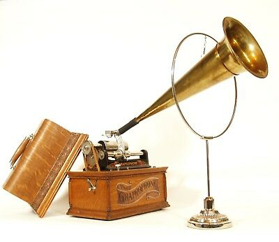 """1903 Columbia AT Phonograph w/18"""" Brass Horn * No Repro Parts * Restored To Mint"""
