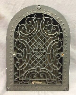 Antique Cast Iron Arch Gothic Heat Grate Wall Register 9X12 Dome Vtg  52-19D