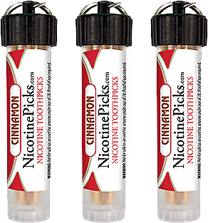 Three-Pack Nicotine Picks - Cinnamon - Nicotine Infused Toothpicks - Great