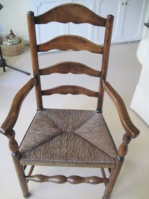 English 18th Century Ash & Elm  Ladder Back Arm Chair with Rush Seat Cerca 1780