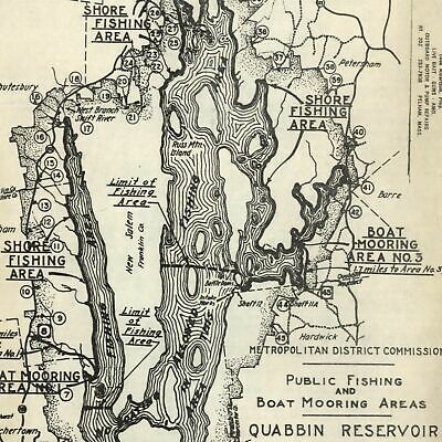 Massachusetts Quabbin Reservoir 1952 fishing boating sporting old map
