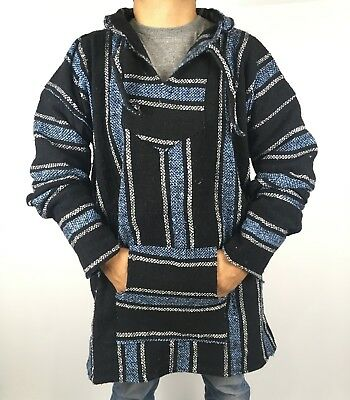 Mexican Baja Hoodie Hippie Surfer Poncho Sweater Drug Rug Pullover